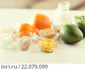 Купить «close up of food ingredients on table», фото № 22079099, снято 17 марта 2015 г. (c) Syda Productions / Фотобанк Лори