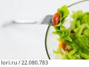 Купить «close up of vegetable salad with cherry tomato», фото № 22080783, снято 26 апреля 2015 г. (c) Syda Productions / Фотобанк Лори