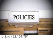 Купить «Policies Register Folder Index», фото № 22151791, снято 20 мая 2019 г. (c) PantherMedia / Фотобанк Лори