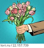bouquet tulips flowers gift. Стоковое фото, фотограф Valeriy Kachaev / PantherMedia / Фотобанк Лори