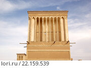 Купить «Traditional wind towers at Yadz, Iran. The town, capital of the Yadz Province, has a history of over 3000 yeras, dating back to the time of the Median Empire. Wind towers are important element in the persian architecture providing natural air conditioning and cool water for houses and water cisterns in dry and humid climate for thausands of years», фото № 22159539, снято 18 августа 2019 г. (c) PantherMedia / Фотобанк Лори