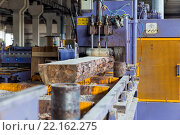 Купить «Пилорама. Процесс раписловки бревен на доски», фото № 22162275, снято 27 августа 2015 г. (c) Евгений Ткачёв / Фотобанк Лори