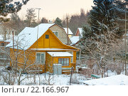 Купить «Старый дачный домик зимой», фото № 22166967, снято 5 января 2016 г. (c) Сергей Дубров / Фотобанк Лори