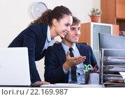 Купить «Secret office romance between colleagues», фото № 22169987, снято 27 февраля 2020 г. (c) Яков Филимонов / Фотобанк Лори