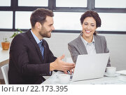 Купить «Business people discussing over laptop in meeting room», фото № 22173395, снято 1 ноября 2015 г. (c) Wavebreak Media / Фотобанк Лори