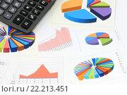 Купить «Калькулятор, графики и диаграммы. Бизнес-натюрморт», эксклюзивное фото № 22213451, снято 7 марта 2016 г. (c) Юрий Морозов / Фотобанк Лори