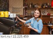 Купить «barista woman making coffee by machine at cafe», фото № 22225459, снято 1 декабря 2015 г. (c) Syda Productions / Фотобанк Лори