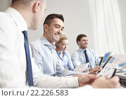 Купить «smiling business people meeting in office», фото № 22226583, снято 25 октября 2014 г. (c) Syda Productions / Фотобанк Лори