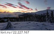 Купить «Sunrise in Winter Carpathian Mountains and Snowfall», видеоролик № 22227167, снято 2 марта 2016 г. (c) Юрий Брыкайло / Фотобанк Лори