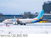 """Boeing 737-800 (Бортовой A6-FDN) авиакомпании """"FlyDubai"""" совершает посадку в аэропорту """"Кольцово"""" (2016 год). Редакционное фото, фотограф Михаил Перевозов / Фотобанк Лори"""