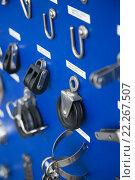 Купить «New cordage assortment on stand close up», фото № 22267507, снято 23 января 2019 г. (c) Яков Филимонов / Фотобанк Лори