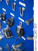 Купить «New cordage assortment on stand close up», фото № 22267507, снято 19 августа 2018 г. (c) Яков Филимонов / Фотобанк Лори