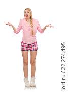 Купить «Pretty smiling girl in pink jacket isolated on white», фото № 22274495, снято 12 января 2015 г. (c) Elnur / Фотобанк Лори