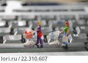 Купить «Покупатели на клавиатуре компьютера», фото № 22310607, снято 9 марта 2016 г. (c) Iordache Magdalena / Фотобанк Лори