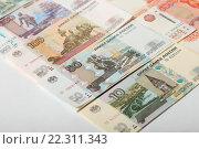 Купить «Российские рубли, 10, 50, 100 и 500», эксклюзивное фото № 22311343, снято 20 марта 2016 г. (c) Яна Королёва / Фотобанк Лори
