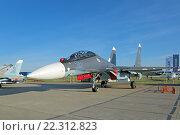 Купить «Международный авиационно-космический салон МАКС-2015. Су-30 СМ (по кодификации НАТО: Flanker-C) российский двухместный многоцелевой истребитель для нужд ВМФ», фото № 22312823, снято 24 августа 2015 г. (c) Игорь Долгов / Фотобанк Лори