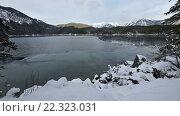 Купить «Winter Eibsee Lake, Germany», видеоролик № 22323031, снято 21 марта 2016 г. (c) Юрий Брыкайло / Фотобанк Лори