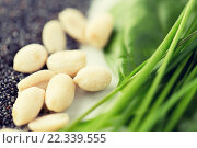 Купить «close up of peeled peanuts, greens and seeds», фото № 22339555, снято 28 апреля 2015 г. (c) Syda Productions / Фотобанк Лори