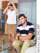 Family conflict at home. Стоковое фото, фотограф Яков Филимонов / Фотобанк Лори