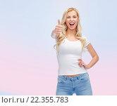 Купить «happy young woman or teenage girl in white t-shirt», фото № 22355783, снято 13 февраля 2016 г. (c) Syda Productions / Фотобанк Лори