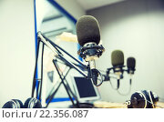 Купить «microphone at recording studio or radio station», фото № 22356087, снято 8 апреля 2015 г. (c) Syda Productions / Фотобанк Лори