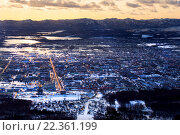 Купить «Южно-Сахалинск. Вид сверху», фото № 22361199, снято 21 марта 2016 г. (c) Mark Agnor / Фотобанк Лори