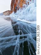 Купить «Байкал. Скалы острова Ольхон в наплесковых льдах», фото № 22363399, снято 6 марта 2016 г. (c) Виктория Катьянова / Фотобанк Лори