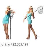 Купить «Woman with catching net isolated on white», фото № 22365199, снято 8 сентября 2012 г. (c) Elnur / Фотобанк Лори