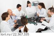 Купить «Interns and professor at hospital meeting», фото № 22367335, снято 5 июля 2020 г. (c) Яков Филимонов / Фотобанк Лори