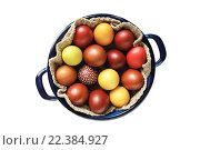 Яркие крашенные Пасхальные яйца в кастрюле - изолированный объект на белом фоне. Стоковое фото, фотограф Анастасия Кононенко / Фотобанк Лори