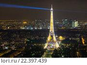 Купить «Вид на ночной Париж и Эйфелеву башню с Монпарнас», фото № 22397439, снято 20 августа 2015 г. (c) Илья Бесхлебный / Фотобанк Лори