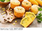 Купить «Несладкие овощные кексы из кукурузной муки с брокколи», фото № 22397659, снято 30 марта 2016 г. (c) Надежда Мишкова / Фотобанк Лори