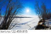 Купить «Красивый зимний пейзаж на берегу реки Обь», фото № 22459815, снято 27 марта 2016 г. (c) Алексей Маринченко / Фотобанк Лори
