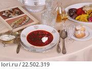 Купить «Суп со сметаной, булочки и водка в графине», фото № 22502319, снято 17 мая 2015 г. (c) Марина Володько / Фотобанк Лори