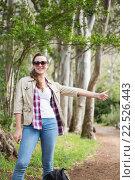 Portrait of woman hitch hiking, фото № 22526443, снято 1 октября 2015 г. (c) Wavebreak Media / Фотобанк Лори