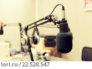 Купить «microphone at recording studio or radio station», фото № 22528547, снято 8 апреля 2015 г. (c) Syda Productions / Фотобанк Лори