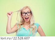 Купить «happy young woman or teenage girl in glasses», фото № 22528607, снято 13 февраля 2016 г. (c) Syda Productions / Фотобанк Лори