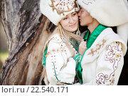 Купить «Жених и невеста в белых национальных костюмах», фото № 22540171, снято 22 июля 2015 г. (c) Евгений Майнагашев / Фотобанк Лори