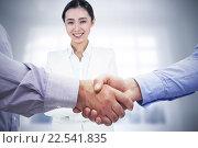 Купить «Composite image of men shaking hands», фото № 22541835, снято 25 июня 2019 г. (c) Wavebreak Media / Фотобанк Лори