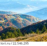 Купить «Sunbeam and autumn misty mountain.», фото № 22546295, снято 21 января 2019 г. (c) Юрий Брыкайло / Фотобанк Лори