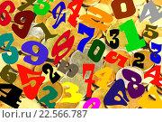 Купить «Цифры разных шрифтов на фоне монет», фото № 22566787, снято 28 мая 2014 г. (c) Сергеев Валерий / Фотобанк Лори