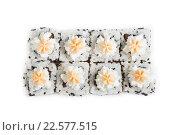 Купить «Японская кухня. Роллы на белом фоне», фото № 22577515, снято 9 октября 2015 г. (c) Михаил Валеев / Фотобанк Лори