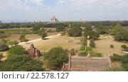 Купить «Панорама с храмами Багана, Мьянма (Бирма)», видеоролик № 22578127, снято 9 апреля 2016 г. (c) Михаил Коханчиков / Фотобанк Лори