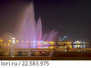 Купить «Казань, фонтан на озере Кабан ночью», фото № 22583975, снято 25 сентября 2015 г. (c) Старостин Сергей / Фотобанк Лори
