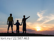 Силуэт семьи на фоне заката. Стоковое фото, фотограф Станислав Толстнев / Фотобанк Лори