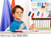 Купить «Улыбающийся мальчик, сидящий за столом, держит французские флаги», фото № 22588083, снято 14 февраля 2016 г. (c) Сергей Новиков / Фотобанк Лори