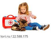 Купить «Маленькая девочка играет в ветеринара с кошкой», фото № 22588175, снято 22 февраля 2016 г. (c) Сергей Новиков / Фотобанк Лори