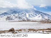 Купить «Гора Мустаг-ата и озеро Кара-куль в высокогорье Памира, Синьцзян-Уйгурский автономный район, Китай», фото № 22607243, снято 20 марта 2016 г. (c) Николай Винокуров / Фотобанк Лори