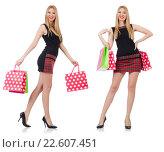 Купить «Woman with shopping bags isolated on white», фото № 22607451, снято 26 января 2014 г. (c) Elnur / Фотобанк Лори