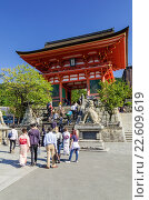 Купить «Deva gate entrance to the Kiyomizudera Temple, Kyoto, Kansai, Japan.», фото № 22609619, снято 18 октября 2014 г. (c) age Fotostock / Фотобанк Лори